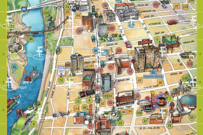 Downtown view of the Memphis Map for Elvis Fans by Alan and Andrea Grossman with hand-drawn illustrations.
