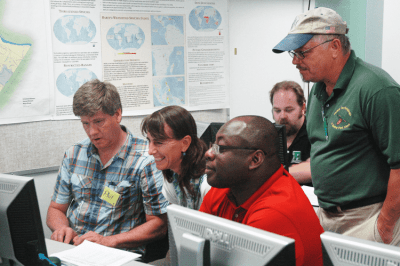 iGETT participants learning GIS in the lab. Source: NASA.
