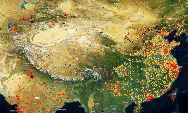 "Spaceknow tracks manufacturing activity for over 6,000 industrial facilities in China using its ""Satellite Manufacturing Index"" (SMI) proprietary algorithms. Map: Spaceknow."