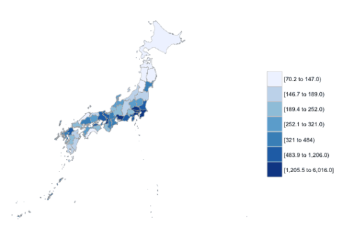 Creating Administrative Choropleth Maps Using R   GIS Lounge gislounge admin1 japan choropleth