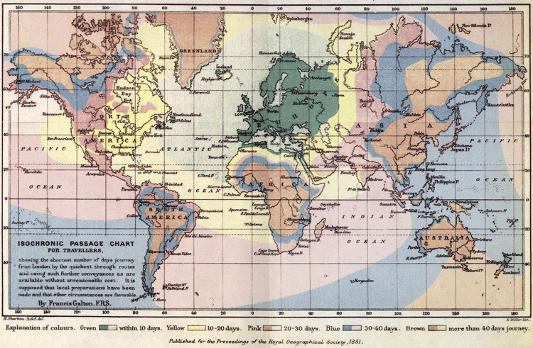 Isochronic Passage Chart for Travelers (global map of travel time departing from London) Francis Galton, 1881