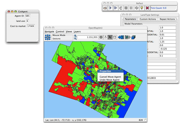 """Screenshot from """"How to use GIS data with Repast""""."""
