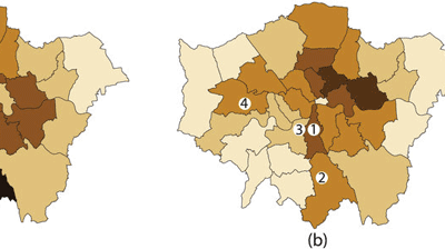 """From Davies et al., 2016: """"the results show good qualitative agreement, with 26 of the 33 boroughs showing rioter percentages in the same or adjacent bands as the data. The remaining discrepancy may be accounted for by factors specific to the London disorder, such as communication between groups, other activity patterns occurring at the time, or social factors beyond the scope of this work. """""""
