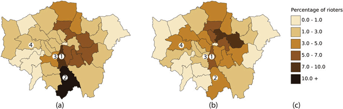 "From Davies et al., 2016: ""the results show good qualitative agreement, with 26 of the 33 boroughs showing rioter percentages in the same or adjacent bands as the data. The remaining discrepancy may be accounted for by factors specific to the London disorder, such as communication between groups, other activity patterns occurring at the time, or social factors beyond the scope of this work. """