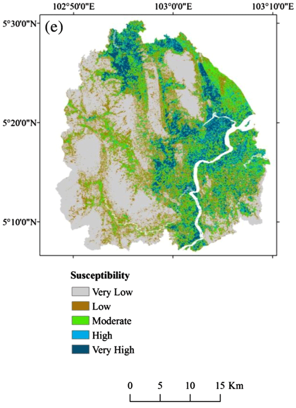 Flood susceptibility map from Tehran et al., 2015.