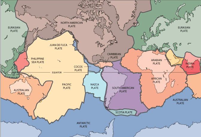 Map of major tectonic plates. Source: USGS.