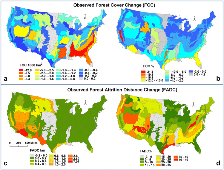 Forest cover change (FCC) and forest attrition distance change (FADC) by area (in km) and by percentage. Forest cover change (FCC) is calculated by subtracting the amount of forest in 1992 from the amount of forest in 2001. Source: Yang & Mountrakis, 2017.