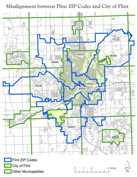 ZIP Code boundaries overlayed with the City of Flint's boundary. Map: Richard Casey Sadler.