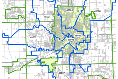 ZIP Code boundaries overlayed with the City of Flint's boundary. Map: Richard Casey Sadler.