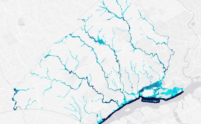 Base flood elevation data in Delaware County, Pennsylvania