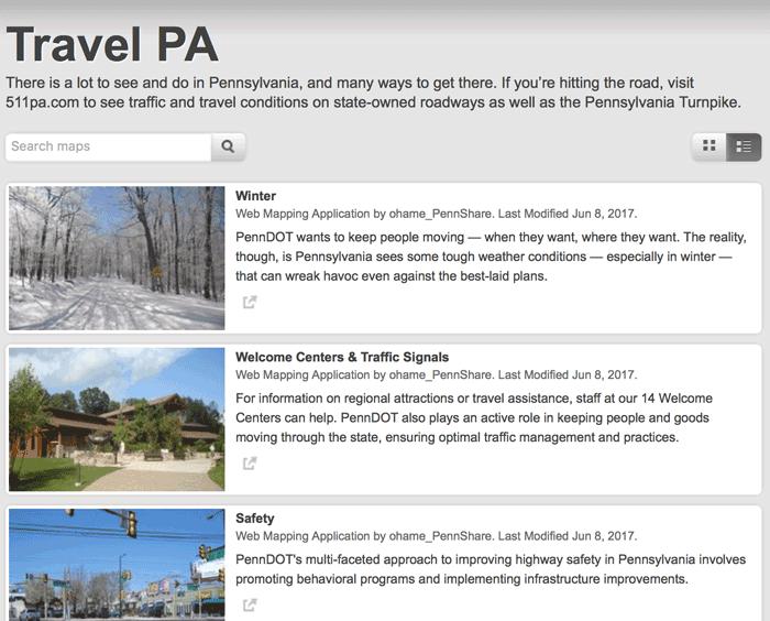 Screenshot from Travel PA.