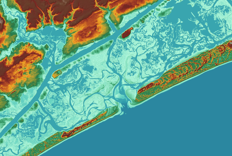 3D LiDAR surface model colored by elevation centered on the inlet between Bear and Browns Island, part of North Carolina's barrier islands south of Emerald Isle in Onslow Bay.