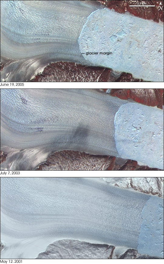 Retreat of the Helheim Glacier between 2001 and 2005. Images from Advanced Spaceborne Thermal Emission and Reflection Radiometer (ASTER) on NASA's Terra satellite.
