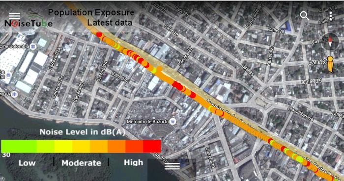 Map of noise pollution in Cartagena, Colombia collected from NoiseTube smartphone data. Source: El Universal, 2016.