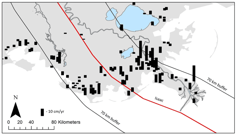 From study: Accretion rates at sites in Southeastern Louisiana within and outside of a 70 km buffer (black lines) from Isaac's track (red line). Sites located within this buffer contained an average accretion rate of 6.10 cm/year, compared to only 2.34 cm/year for all sites in the state outside of this area (Bianchette et al., 2016).