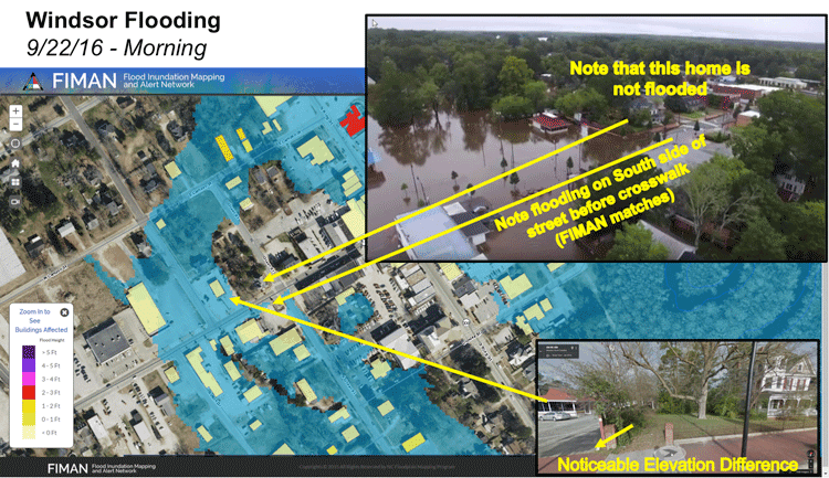 Projected and actual flooding of the Cashie River caused by Tropical Storm Julia in September 2016