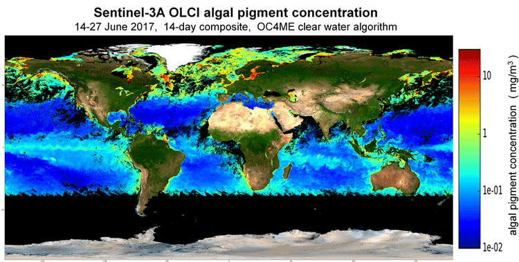 World map showing Sentinel-3 OLCI Level-2 Algal Pigment Concentration