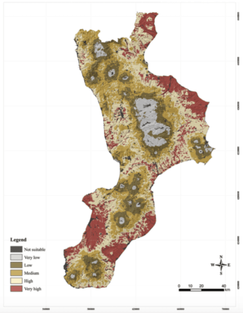 Figure 1: Land map showing the potential suitability to beekeeping activity estimated by the approach described in the research [8]