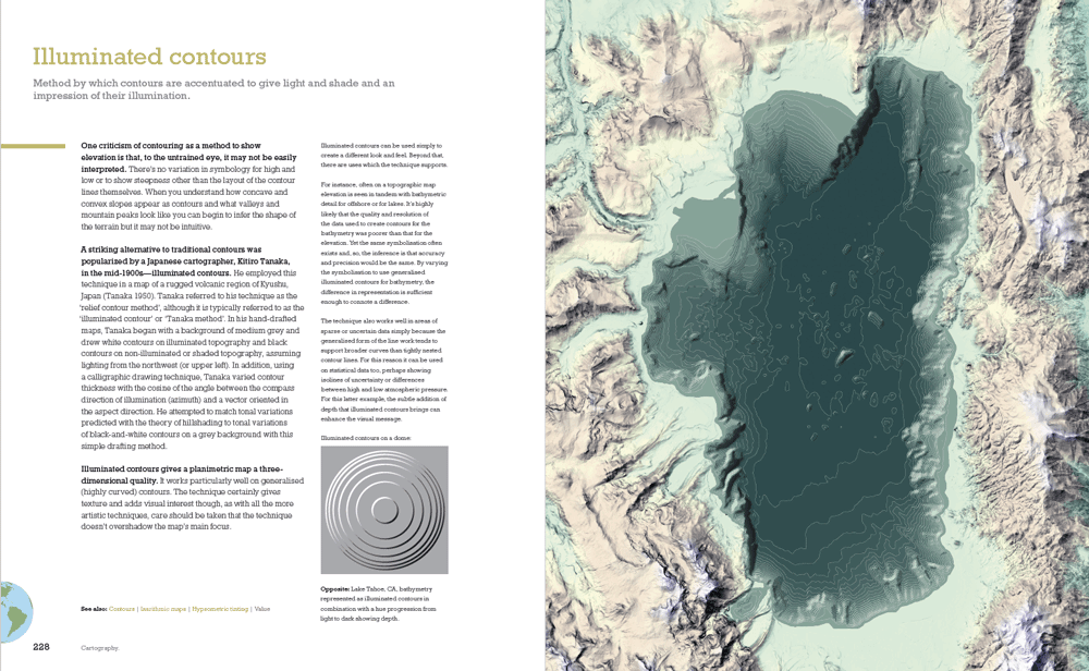 Illuminated contours, Cartography. From: Kenneth Field, ArcGIS Blog.