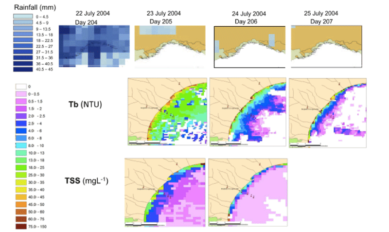 Figure 1: Spatial and temporal dynamics of rainfall, TSS and Tb near Borghetto stations between 22 and 25 July 2004 [4]