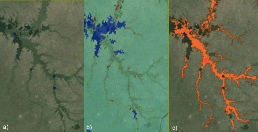 Figure 2: Example for data integration from the valleys southeast of Lake Kyoga. a) Blue dots: peat point data (National Survey for Energy Peat, 2004); b) Topographical Wetness Index (AfSIS): high TWI in red & darker blue; c) Orange: drawn peatland polygons [12]