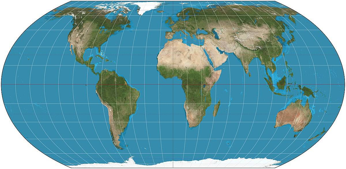 Equal Earth map projection with a natural earth shading. Map: Strebe, CC BY-SA 4.0