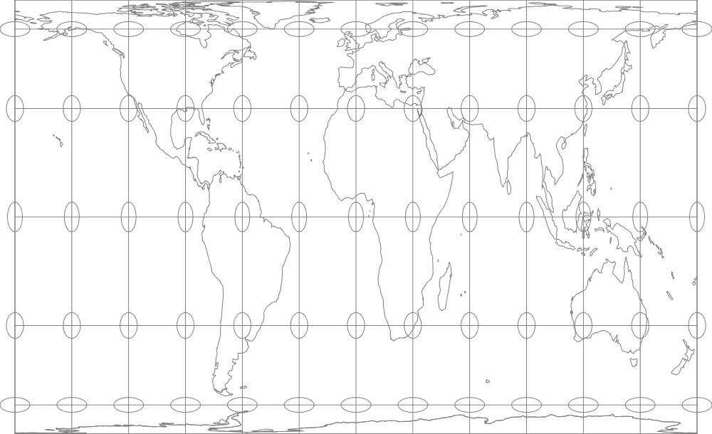 Gall-Peters map projection with Tissot's indicatrices. Map: Flex Projector