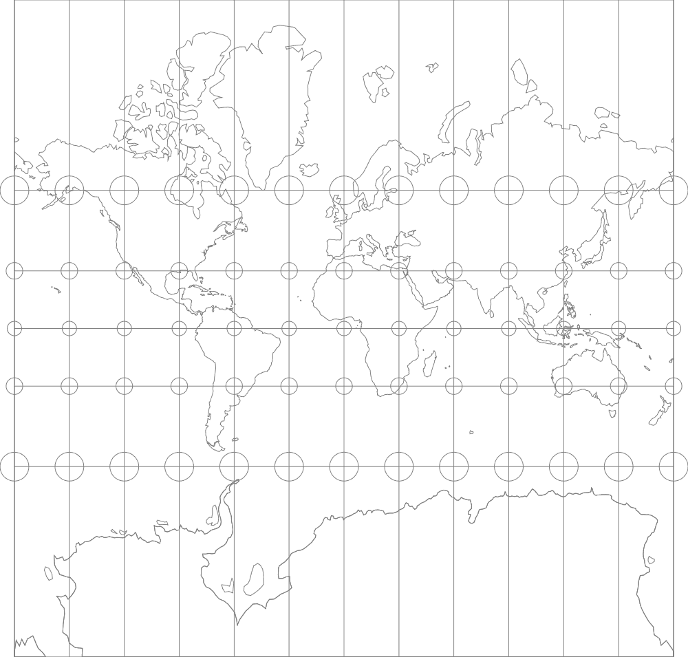 Mercator map projection overlaid with Tissot's indicatrices showing a greater distortion of land sizes at higher latitudes. Map: Flex Projector