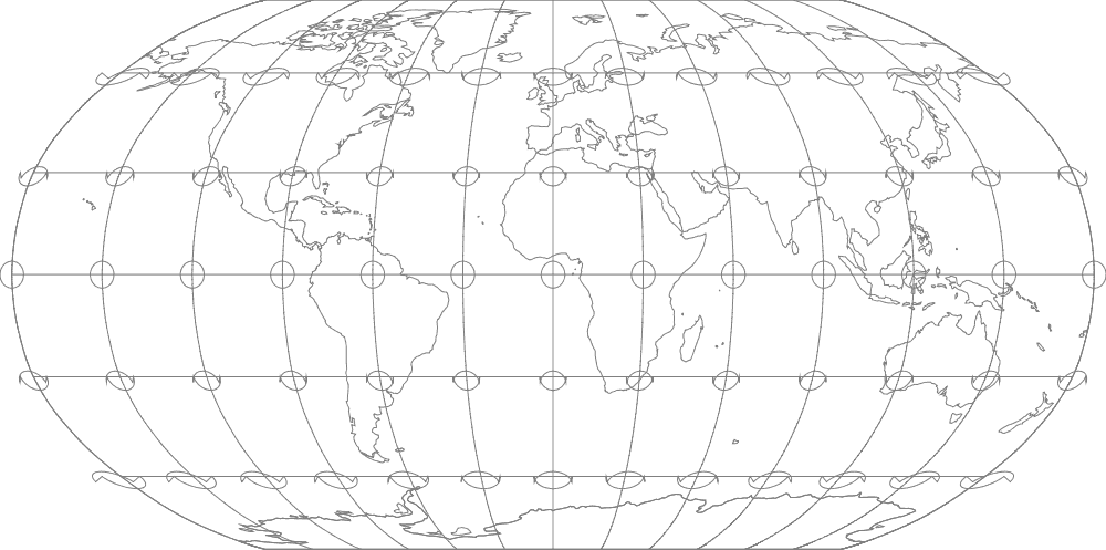 Robinson map projection with Tissot's indicatrices. Map: Flex Projector