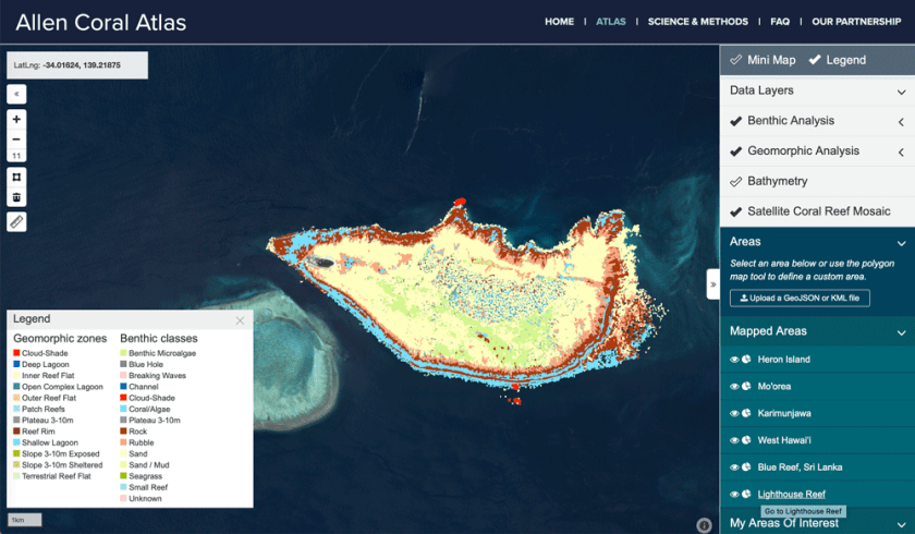 The Allen Corel Atlas provides access to high resolution mapping of coral reefs around the world.