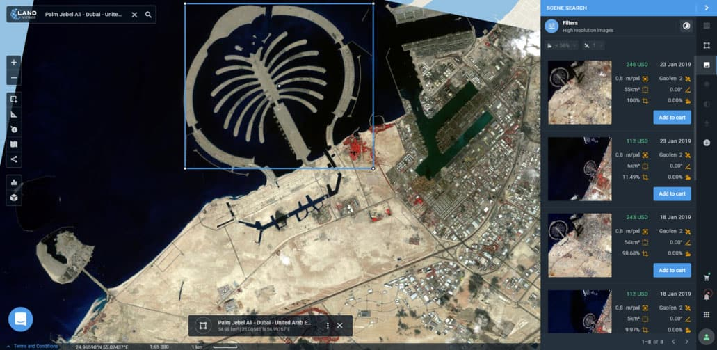 Preview of GAOFEN 2 image collected over Palm Jebel Ali in Dubai, UAE.