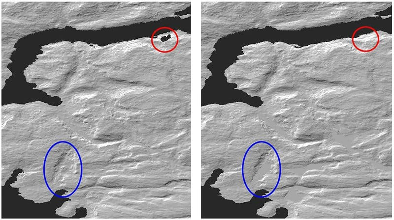 Comparison between GDEM Version 2 and 3 (Left: Version 2, Right: Version 3) Red circle: elevation void area, Blue circle: water area. Source: NASA and METI Science Teams