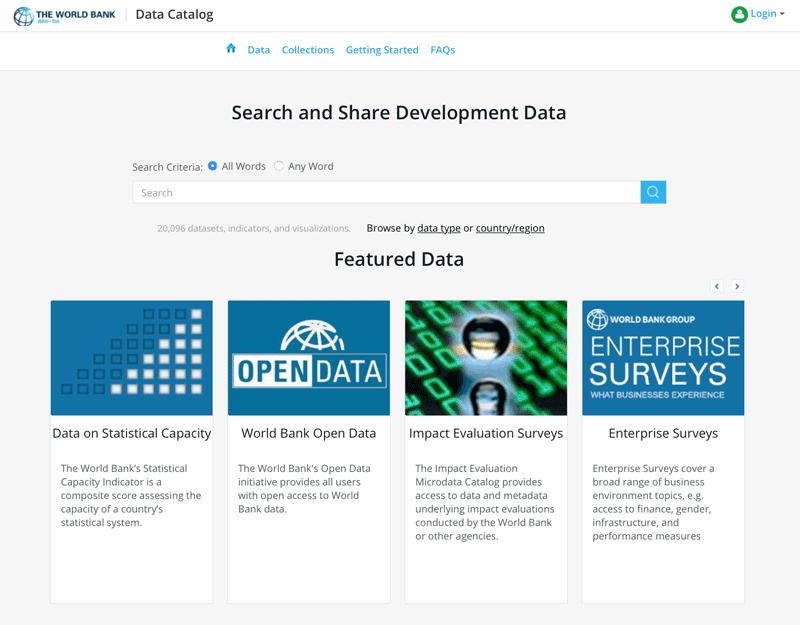 World Bank GIS data catalog