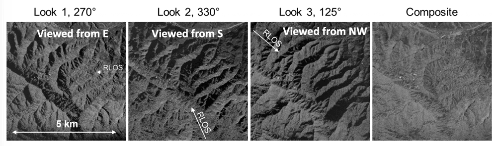 Three CIRES observations of the same scene from different angles show that a registered combination of these multiple views can provide near-uniform illumination coverage of mountainous areas.  Image: ESTF presentation, NASA, 2019