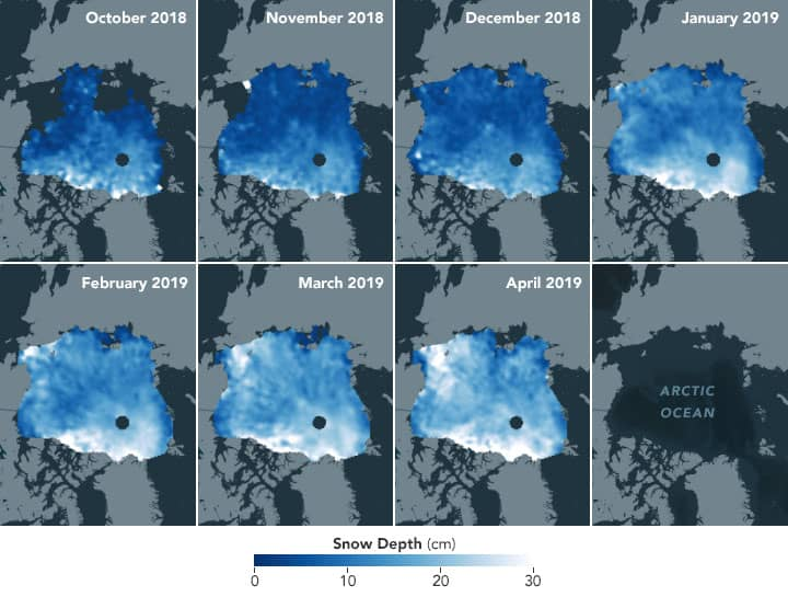 Maps showing snow depths across Arctic sea ice from October 2018 to April 2019.  Source: NASA
