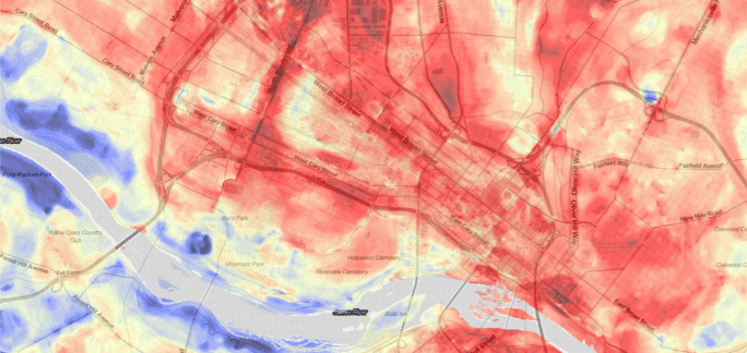Urban heat map from data captured during the summer of 2018 in Richmond, VA. Source: NOAA.