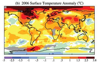 Anomal�as de la temperatura superficial en 2006.