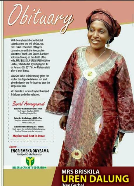 PHOTO NEWS!!! Tears Flows Freely As Nigerian Sports Minister 'Solomon Dalung' Buries Wife Mrs Briskila