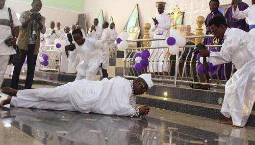 Happy Gani Adams Rolls On The Floor During Church Thanksgiving Service [Photos]
