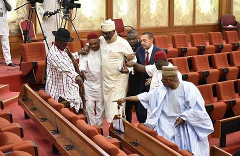 Excited PDP Senators Help Dino Melaye To His Seat [Photos]