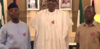 Viral Video of President Buhari, Osinbajo and Oshiomhole Singing 'Merry Christmas'