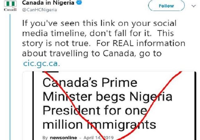 FAKE! 'We Didn't Beg Buhari for One Million Immigrants' – Canadian Embassy Tells Nigerians