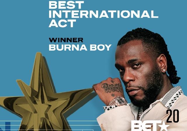 How Burna Boy's Second Bet Award, Makes Him Set Record At Bet As An African Act