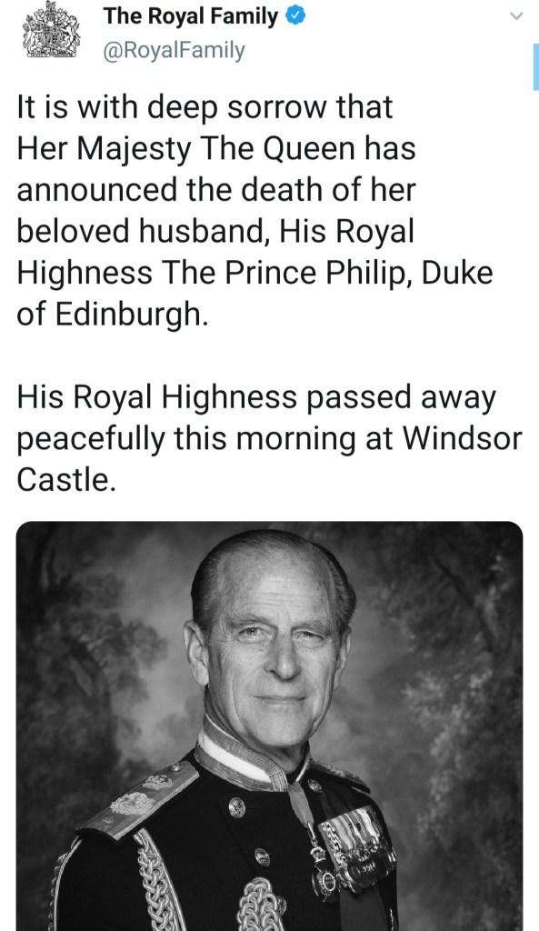 Queen Elizabeth's husband, Prince Phillip dies at 99