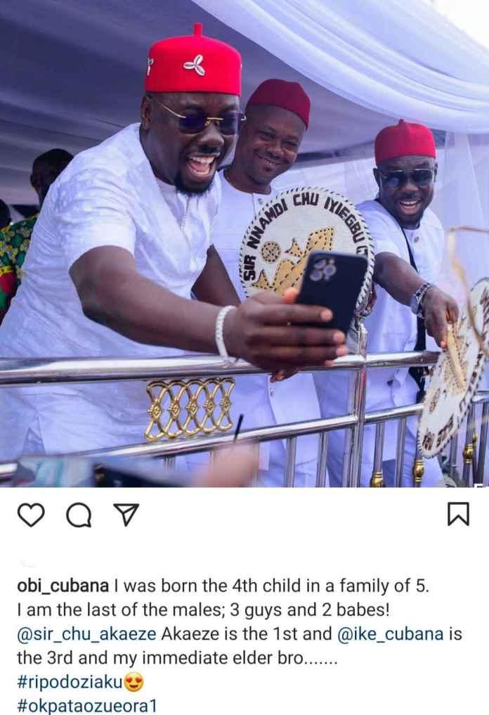 Obi Cubana Shows Off His Elder Brothers