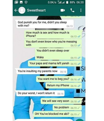 Man shares screenshots of chat with his girlfriend who broke up with him 24-hours after he bought her an iPhone