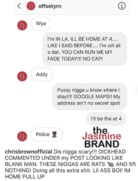 Chris Brown sends Offset his house address to meet him there for a fight