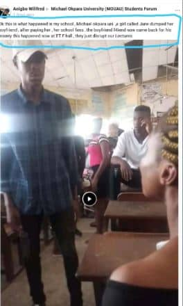 Video: Man beats up his girlfriend for dumping him after he paid N20k for her school fees 5