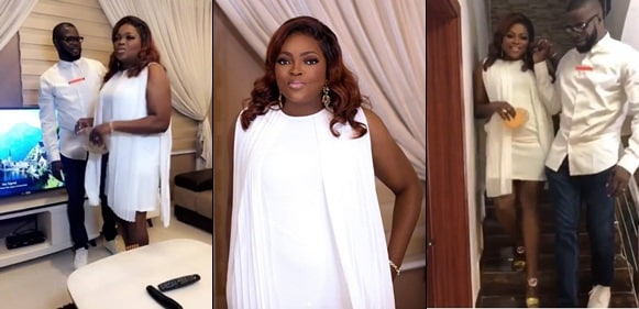Funke Akindele-Bello and hubby, JJC Skillz step out in dazzling white outfits