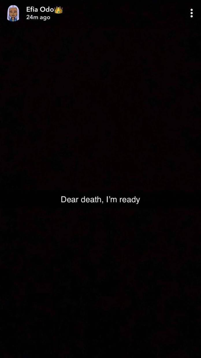 'Dear Death, I am ready' – Efia Odo threatens suicide after alleged threesome with Shatta Wale & Junior US